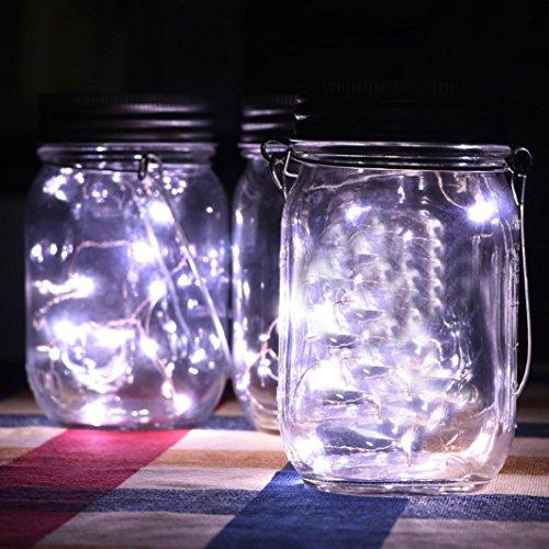 Hunpta LED Feenlicht Solar Powered für Einmachglas Deckel Einsatz Farbwechsel Garten Decor (2M, Weiß) (Halloween Fenster Leuchtet)
