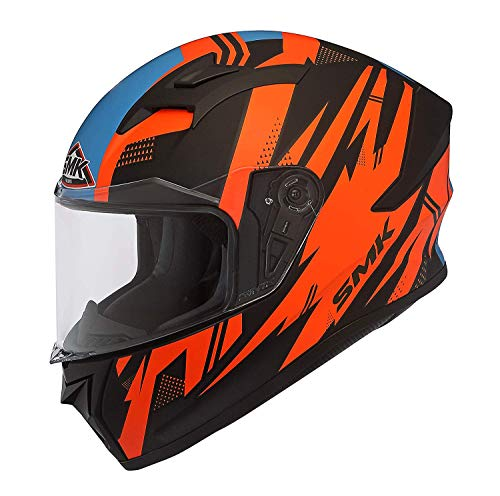 SMK Helmets - Stellar - Trek - Black Orange Blue - Pinlock Anti Fog Lens Fitted Single Clear Visor Full Face Helmet - MA275 (Large - 590 MM)