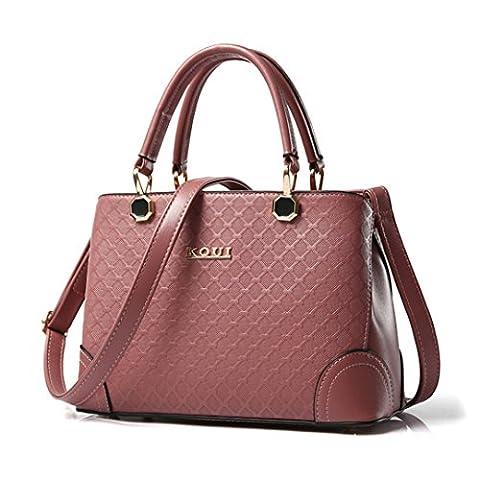 Wewod Damen Koreanisch Toth Handtaschen Einfarbige Gitter Prägung Glatte Textur Umhängetasche Tragbare Schulter Messenger Bag (Rosa)