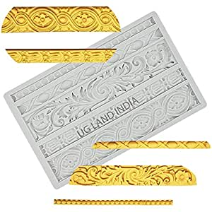 UG LAND INDIA DIY Baroque Scroll Relief Cake Border Silicone Mold,Vintage Curlicues Fondant Molds Flower Frame Edible Lace Mould Mat for Birthday Candy Chocolate Sugarcraft