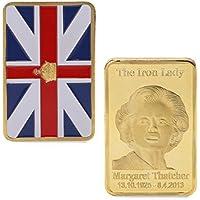 Chuhe - Monedero conmemorativo Chapado en Oro con diseño de Margaret Thatcher The Iron Lady