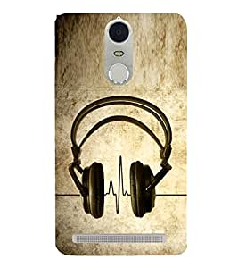 Music Headphones 3D Hard Polycarbonate Designer Back Case Cover for Lenovo K5 Note :: Lenovo Vibe K5 Note Pro