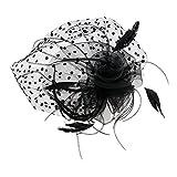 Baoblaze Eleganter Fascinator mit Federn Blumen Schleier Haarclip Stirnband Haarreif für Hochzeit Cocktail Tee Party