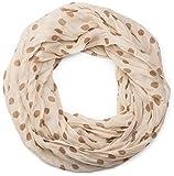 styleBREAKER Punkte Muster Loop Schlauchschal, seidig leicht, Tuch, Damen 01016111, Farbe:Creme-Braun