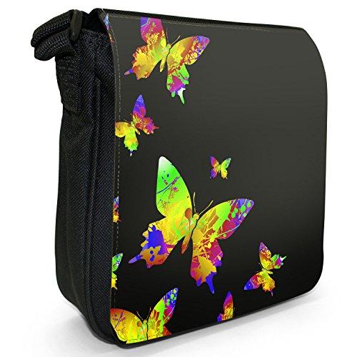 Schmetterlinge Regenbogenfarben Spritzer Kleine Schultertasche aus schwarzem Canvas Schmetterlinge Regenbogen Spritzer Gelb