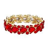 Flyonce Pulsera Brazalete Mujer Cristal Austríaco para Novia Boda Flor Lágrima Elástico Rojo Tono Dorado