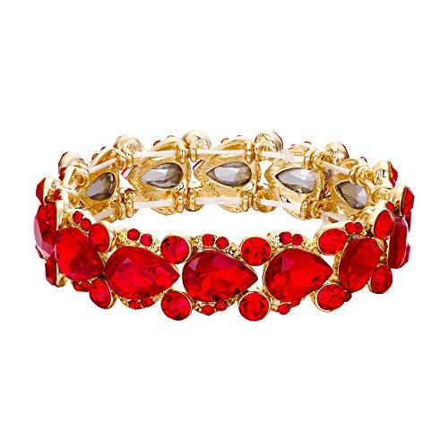 EVER FAITH Damen Armband österreichischen Kristall Hochzeit Braut Floral Tear Drop elastische Stretch-Armband Armreif Rot Gold-Ton