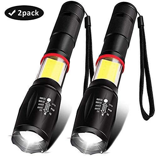 XXWECO LED Taschenlampe Aufladbar, IP65 Wasserdicht LED Taschenlampe 6 Modi, 1600 Lumen, Leistungsstarke Taschenlampe mit Arbeitslicht und Magnet, Ideal für Camping, Wandern, Radfahren(2 Stück)