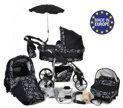 Twing - 3-in-1 travel system con carrozzina, seggiolino auto, passeggino sportivo e accessori con ruote girevoli … (3-in-1 travel system, fiore bianco)