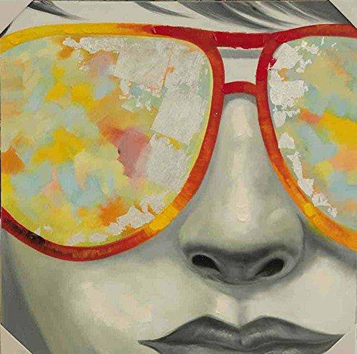 Quadro stampa su tela – occhiali dipinti pittura ad olio decorazione da parete – 40x40 cm