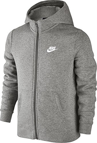 Nike Boys  NSW FZ Club Hoodie  Dark Grey Heather White  Small
