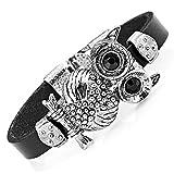 Urban-Jewelry Atemberaubendes Leder Kristall Schwarzer Eule Manschette Armband (Silber Farbe)
