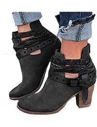 dff5424119a4 Bottines Roman Femme Mode,GongzhuMM Chaussures à Talons Hauts Sexy Femme  Bottes Bottines Talon épais Suède Boucle de Rivet…