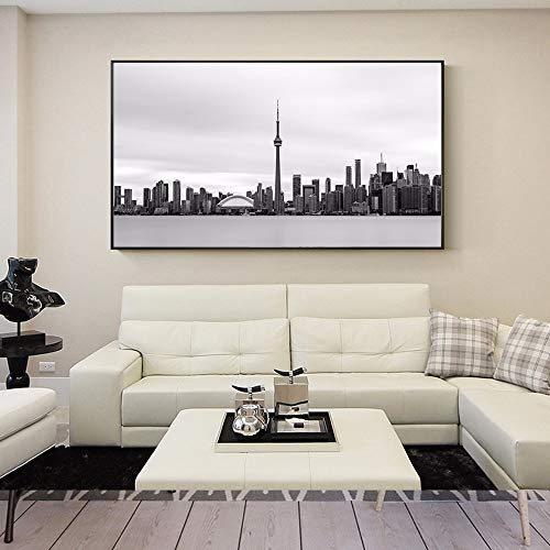 qiumeixia1 Black And White Toronto Skyline Vintage Posters And Prints Realist Toronto Landscape Wall Art Canvas Pictures For Living Room 50 * 100cm No Frame