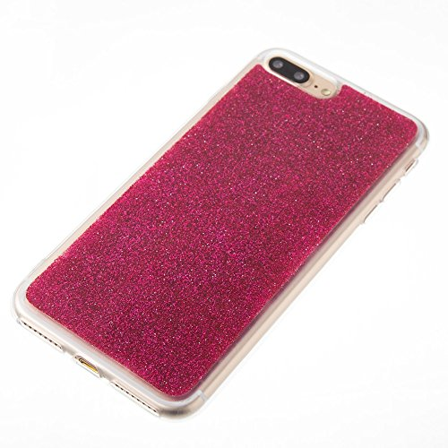 EKINHUI Case Cover Soft Flexible Silikon TPU Gel Cover Case [Anti-Kratzer] Glänzende Glitter 360 ° Volldeckung Rückseitige Abdeckung [Shockproof] für iPhone 7 Plus ( Color : Purple ) Red