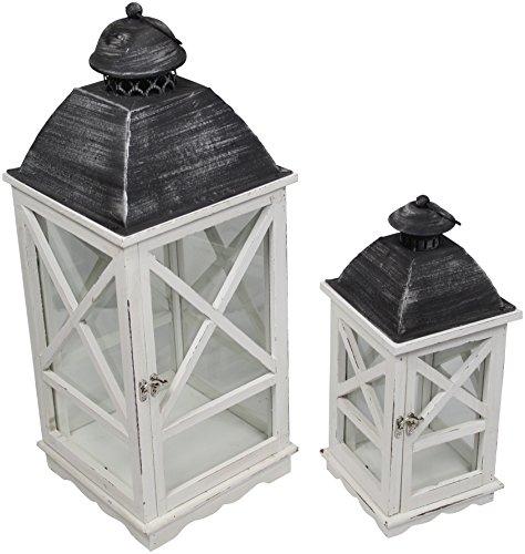 Holz-Laterne mit Echtglas und Tür 2 Stück im Set Dachspitze rund (Holz-laterne-kerze-halter)
