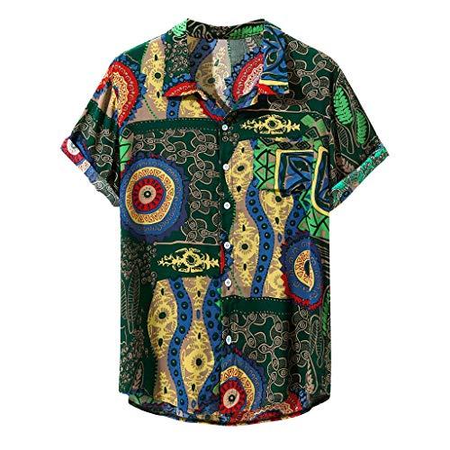zarupeng‿ Hombres Vintage Colorido Étnico Floral Impreso Manga Corta Camisas Casuales Sueltas Algodón Confort Camiseta