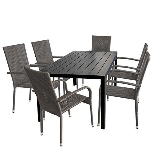Multistore 2002 7tlg. Gartengarnitur Gartentisch Tischplatte Polywood 150x90cm + 6X stapelbare Rattansessel Sitzgruppe Aluminium Stapelstuhl Polyrattan Gartenstuhl Terrassenmöbel Sitzgarnitur