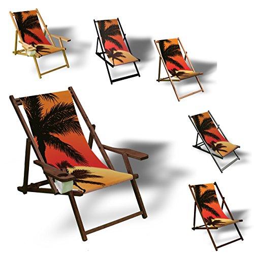 Printalio - Palmen Sonnenuntergang - Liegestuhl Bedruckt Balkon Garten Sonnenliege Relax Holz Terrasse   mit Armlehne, Dunkelbraun - Terrasse Sonnenuntergang