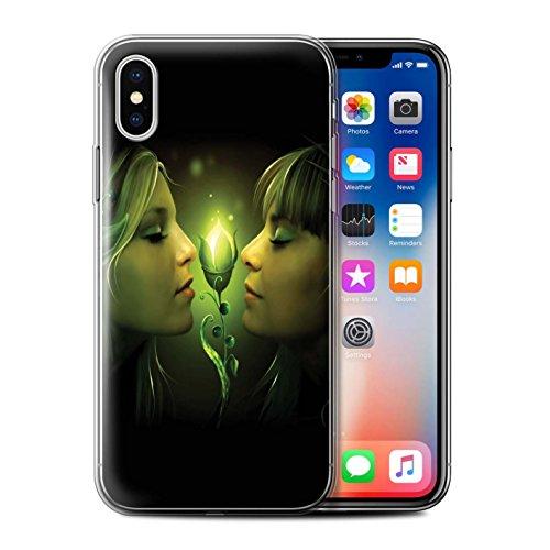 Officiel Elena Dudina Coque / Etui Gel TPU pour Apple iPhone X/10 / Coeur flamboyant Design / Art Amour Collection Relation amicale