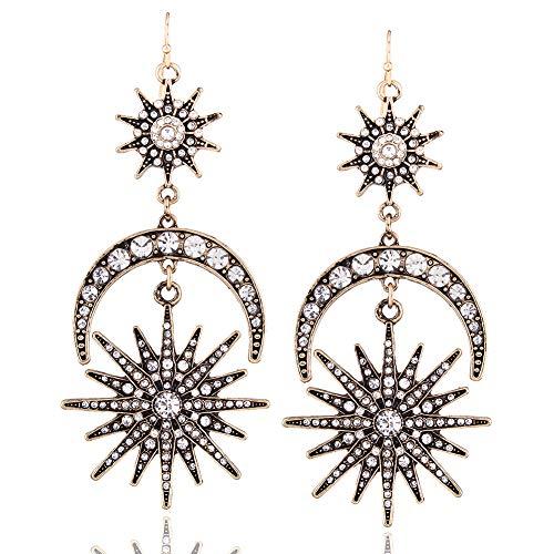 AllRing - Pendientes elegantes de seis estrellas con diseño de luna y sol para mujer, accesorios de joyería de moda Style 2