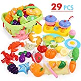 NextX Küchenspielzeug mit Lebensmittel GeschirrKüche Rollenspiele Spielzeug für Jungen und Mädchen (29 Stücke)