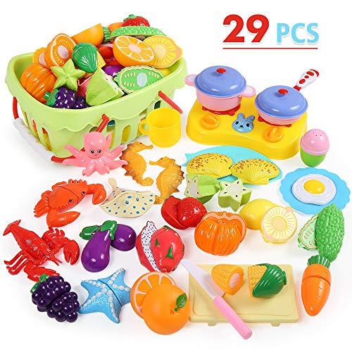NextX Küchenspielzeug mit Lebensmittel GeschirrKüche Rollenspiele Spielzeug für Jungen und Mädchen (29 Stücke) -