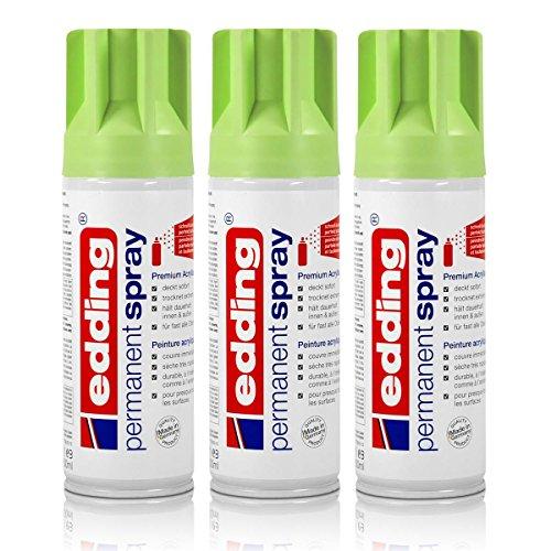 3x edding Permanent Spray pastellgrün matt 200 ml Premium Acryllack Spraydose