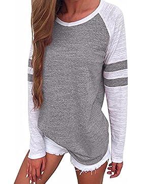 LANISEN - Camiseta de manga larga - Rayas - Cuello redondo - Manga Larga - para mujer