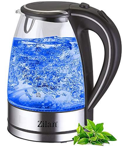 Wasserkocher Edelstahl Glas | 1,7 Liter | 2200W | Blaue LED Innen-Beleuchtung | 360 Grad | Kalkfilter, BPA frei | Kettle | Wasseraufbereiter | Teekocher | Wasserkessel | Glaswasserkocher |