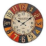 CT-Tribe - Horloge Murale - 13,4 Pouces Horloge Moderne Pendule Silencieuse - En Bois - Décoration de la Maison, Chambre, Salon, Couloir, Café, Bar, Bureau - A1908