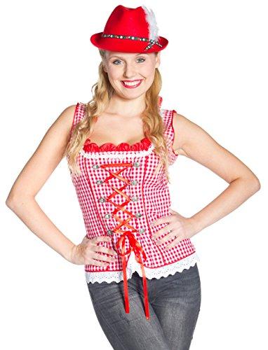 Trachtenmieder rot/weiß (007 Motto Kostüme)