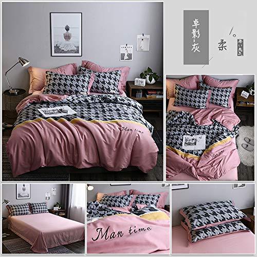 Gestickt Interlock (BFMBCH Vierteilige Bettdeckenbezüge aus Baumwolle mit gestickten Nähten Freizeitset J 200 cm * 230 cm)