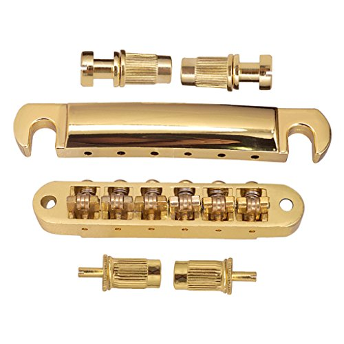 perfk 1 Set E-Gitarre Roller Sattel Bridge Saitenhalter Groß für Gibson Les Paul / Epiphone E-Gitarre. - Golden