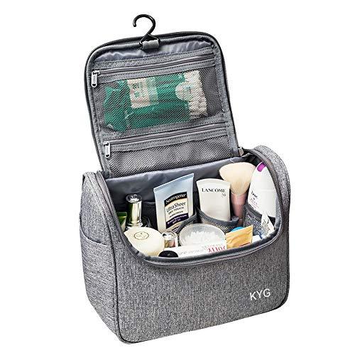 Neceser de viaje para colgar - Bolsas de aseo para cosméticos Organizador Accesorios de baño resistente y impermeable- Bolsas de aseo personal, viajes, vacaciones, viajes de negocios, Gris