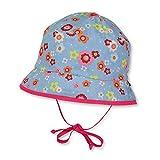 Sterntaler Fischerhut für Mädchen mit Bindebändern und bunten Blümchen, Alter: ab 12-18 Monate, Größe: 49, Himmelblau