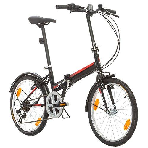 Klapprad Fahrrad Bikesport FOLDING 20 Zoll Shimano 6 GANG (Schwarz)