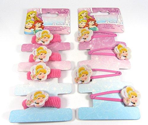 Con licencia oficial de Disney princesa Cenicienta accesorios para el pelo 4x Hair Snap Clips, & 4x Ponios Bobbles