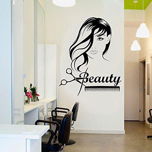 zqyjhkou Beauty Girl Langes Haar Schere Kamm Barbershop Wandaufkleber Vinyl Abnehmbare Innenaufkleber An Der Wand Friseur Kunst E509 M 42x53 cm (Vinyl Album-kunst)
