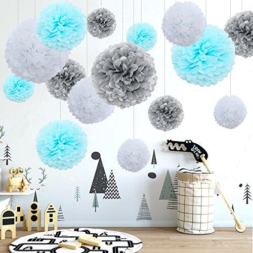 Himeland 15er Mixed DIY Papier Blumen, Seidenpapier Pompoms Dekoration Set zum Geburtstag/Baby Shower/Hochzeitsfest/Party