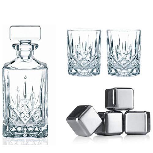 Whisky-Set Noblesse 7tlg. ** 2 Whiskygläser + Karaffe/Dekanter (Marke: Nachtmann / Modell: Noblesse) + 4 Whiskysteine (Marke: vacu vin), keine Verwässerung mehr, Geschenkset für Whiskey-Liebhaber