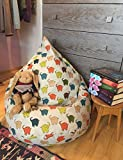 #4: Abstract Elephant design, cotton canvas comfort research printed bean bag cover filled with bean, Size XXL by Aart Store