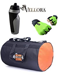 VELLORA Polyester Long Lasting Material, Duffel Gym Bag Blue With Penguin Sport Sipper, Gym Sipper Water Bottle...