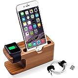 Ladestation Halterung, Elekin Bamboo Docking Station Apple Watch Stand für Apple Watch und iPhone 5 5S 5C 6 6 PLUS SE 6S 6S Plus
