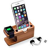 Apple Watch Stand, Elekin iWatch di legno di bambù supporto di ricarica Docking Stazione staffa culla stock Holder Entrambi 38 millimetri o 42 millimetri per Apple Watch e iPhone 6S Plus / 6S / 6 Plus / 6 / 5s / 5c / 5
