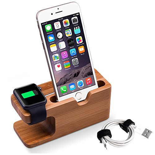 Ladestation Halterung, Elekin Bamboo Docking Station Apple Watch Stand für Apple Watch und iPhone 5 5S 5C 6 6 PLUS SE 6S 6S Plus