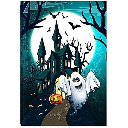 Gartenflagge Halloween Schloss gruseliges Herrenhaus mit Jack o Laterne Kürbis Gartenflagge 12,5 x 18 doppelseitig dekorative Flagge für Party Hof Home Outdoor Decor ()