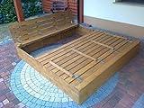 Sandkasten Buddelkasten aus Massivholz mit Deckel und Sitzbänken in Hellbraun, 120 cm x 120 cm