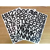 Pack of 79 x 2' (50mm) Black Vinyl Sticky Letters & Numbers, Self-Adhesive, Stick on, Cut-to-Shape, Waterproof Lettering…