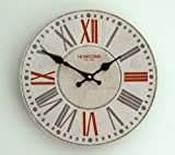 Wall Clock Chic Shabby Retro Style Wall Clock - Roman Numerals, Ornate Hand Dials in White, Red & Grey